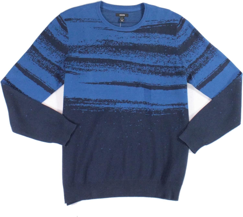 Alfani Mens Sweater Pullover Crewneck Two-Tone Printed Blue XL