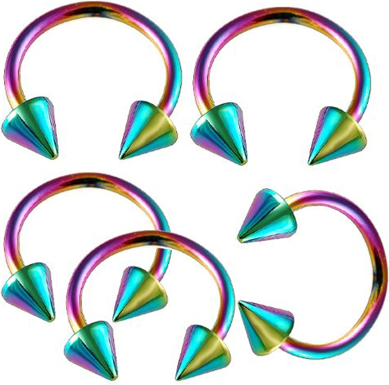 bodyjewellery 16g 16 Gauge 3/8 Inch 10mm Rainbow Surgical Steel Eyebrow Lip bar Ear Tragus Horseshoe Rings Circular Barbells LFJ Piercing