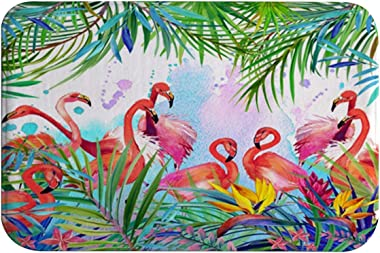 Flamingo Bath Mats, Flamingos with Tropical Palm Leaves Flannel Absorbent Super Soft Non Slip Bath Rug for Bathroom Kitchen F