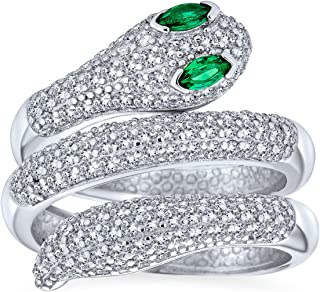 Bling Jewelry Egyptian Style Exotic Formal CZ Micro Pave Simulated Emerald Green Eye Wrapping Stackable Bypass Wrap Serpen...