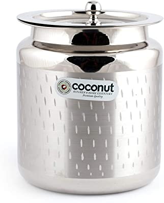 Coconut Stainless Steel Shower Ghee Pot/Oil Pot with Lid - 1 Pc -650ML