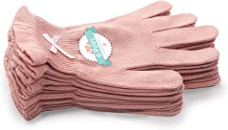 EvridWear Beauty Cotton Gloves with Touchscreen Fingers for SPA, Eczema, Dry Hands, Hand Care, Day and Night Moisturizing, 3 Sizes in Feather or Light Weight (6 pair S/M, Feather Weight Pink Color)