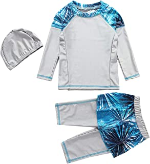 FENICAL Girls Muslim Swimsuit Swimming Cap Top Pants Kit for Children