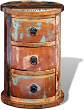 Festnight Reclaimed Cabinet Solid Wood Characteristic Round Storage Cabinet with 3 Drawers