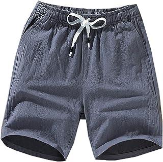 Lentta Mens Casual Elastic Waist Drawstring Cotton Linen Summer Beach Bermuda Shorts