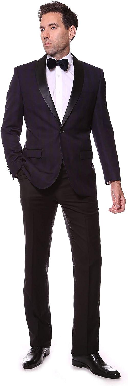 Ferrecci Men's Astor Slim Fit Plaid Tuxedo Blazer