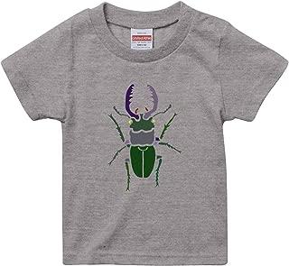 [Chara Park] クワガタ 昆虫モチーフ プリントTシャツ キッズ 100 120 ミックスグレー バニラホワイト サンドカーキ