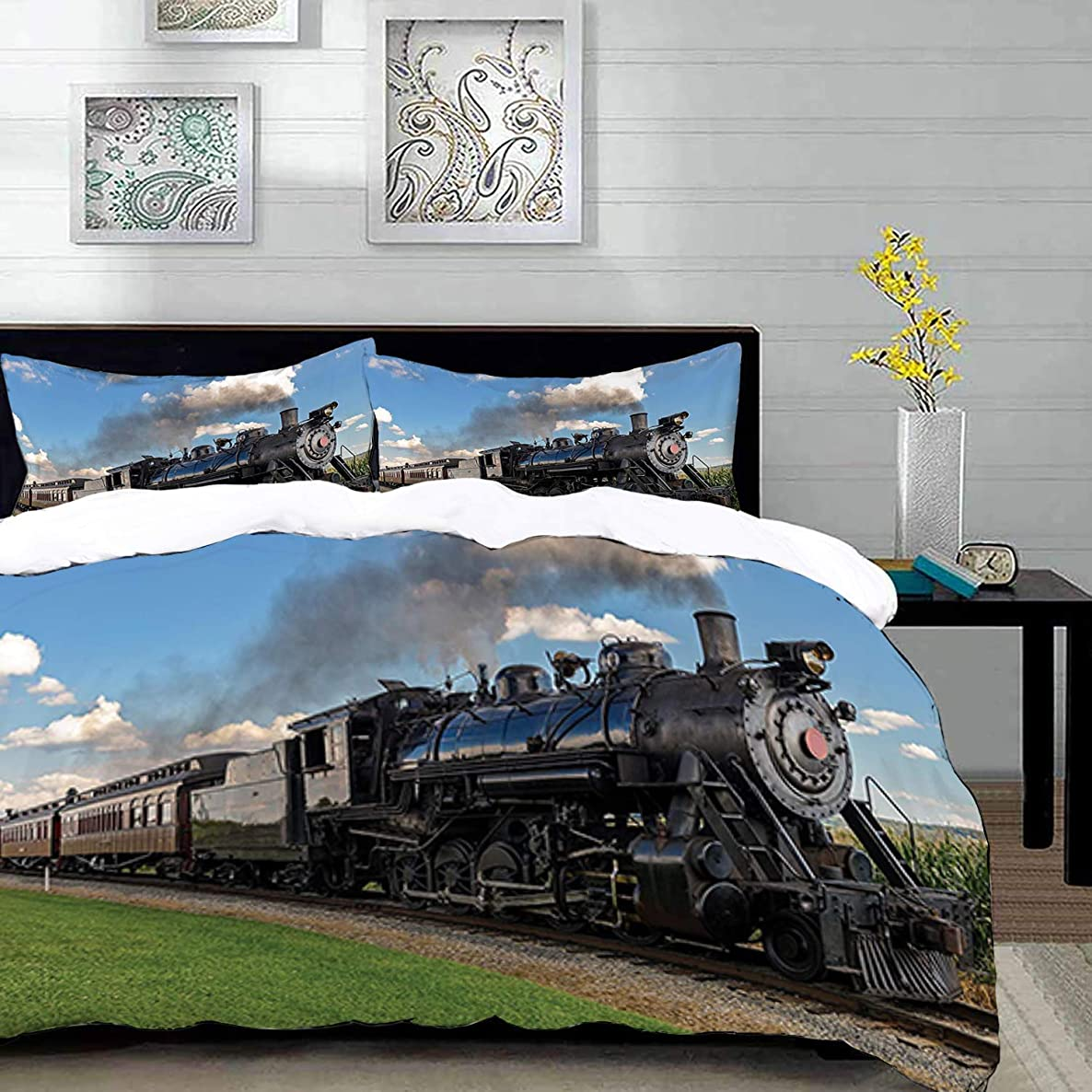 Duvet Cover Set,Steam Engine Vintage Black Locomotive in Countryside Landscape Green Grass Puff Train Picture Home Decor,Multicolor,Twin Size Decorative 3 Piece Bedding Set with 2 Pillow Shams, ,Super