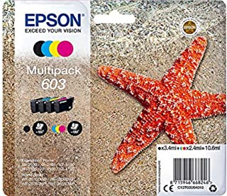 Epson 603 Starfish Multipack 4-Colours Standard Capacity Ink Cartridges, C13T03U64010, Amazon Dash Replenishment Ready