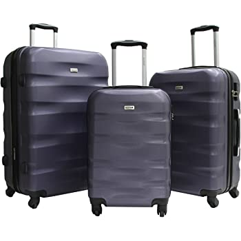 Set de 3 Valises Alistair Fly - ABS renforcé - 4 Roues - 55cm - 65cm - 75cm - Garantie 2 Ans - Marque Alistair - Black/Purple