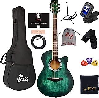 گیتار آکوستیک WINZZ 40 اینچ دسته گیتار برش دهنده مبتدی شروع با بسته بندی کیسه ای ، پایه ایستاده ، تیونر ، وانت ، تسمه ، انتخاب