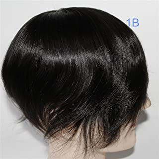 Lumeng Wigs Human Hair Men Toupee Mono Lace With Npu Around Lace Systems Size 7x9 Inch 6 Inch Length Color 1B