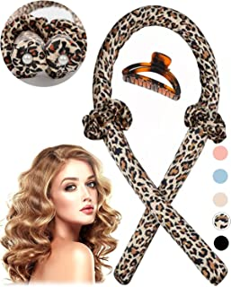 (Leopard) - SHEGATO Heatless Hair Curlers For Long Hair, No Heat Silk Curls headband, Soft Sponge Hair Rollers, Wave Forme...