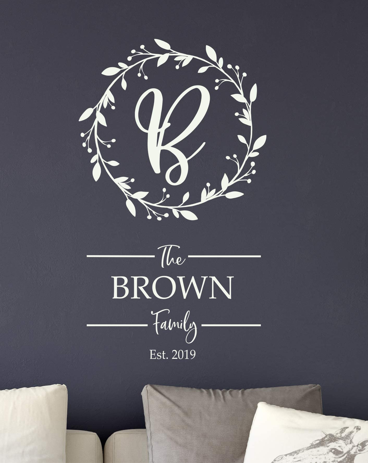Family Name Monogram Wall Decal Removable Vinyl Wall Decal Monogram Name Initial Decal Family Room Entryway Living Room Made in the USA