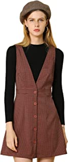 Allegra K Women's Overalls Suspenders Plaid Houndstooth Pinafore Dress
