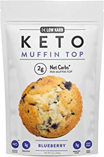Low Karb - Keto Muffin Top Baking Mix - Only 2g Net Carbs Per Muffin - Easy to Bake - Keto Snacks & Low Carb Food - No Added Sugar & Naturally Sweetened - 12 Servings (12 oz) (Blueberry)