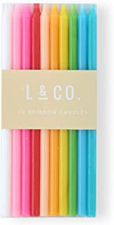 l&co 20 Count Tall Skinny Rainbow Birthday Cake Candles for Birthday Wedding Party Cakes Decorations