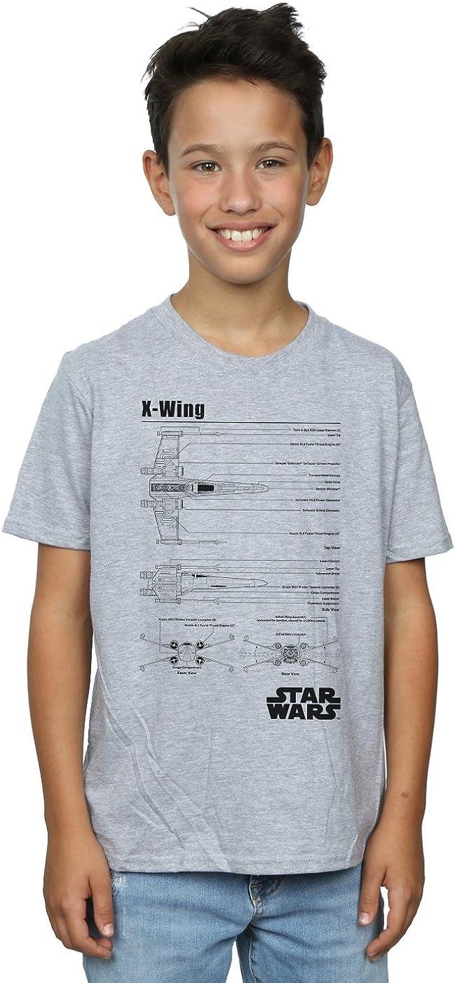 STAR WARS Boys X-Wing Blueprint T-Shirt 7-8 Years Sport Grey
