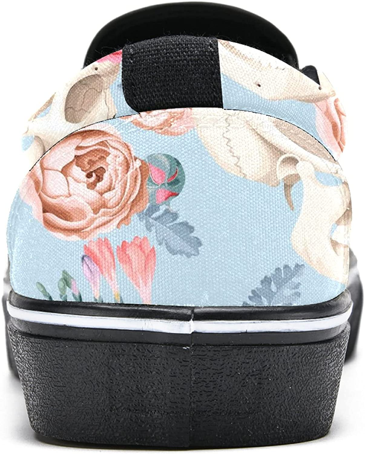 Men's Classic Slip-on Canvas Shoe Fashion Sneaker Casual Walking Shoes Loafers 5.5 Skulls and Roses Pattern