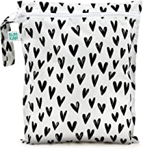 Bumkins Waterproof Wet Bag, Washable, Reusable for Travel, Beach, Pool, Stroller, Diapers, Dirty Gym Clothes, Wet Swimsuits, Toiletries, Electronics, Toys, 12x14 – Black Hearts