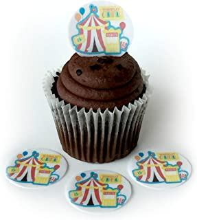 Carnival Fair Circus Tent Wafer Paper Toppers 1.5 Inch for Decorating Desserts Cupcakes Birthday Cakes Cookies Pack of 24