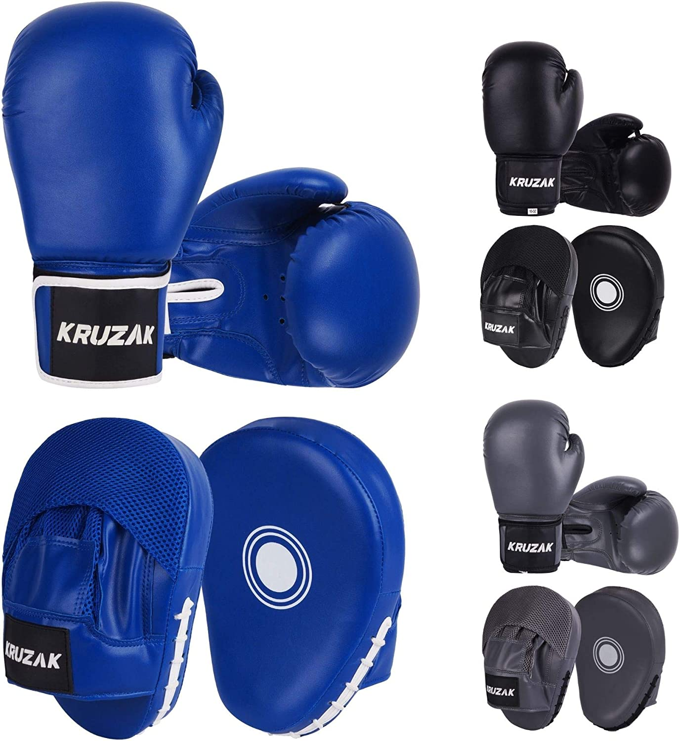 Kruzak Plain Price reduction Focus Mitts and Boxing Kickboxing Gloves an Max 79% OFF for Set