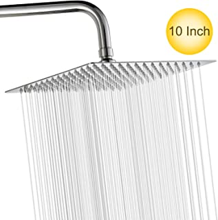 10 Inch High Pressure Shower Head Fixed Mounted Rain Shower head 304 Stainless Steel Ultra Thin Rainfall Shower Head with Mirror Effect Easy to Install Self Cleaning (Square)