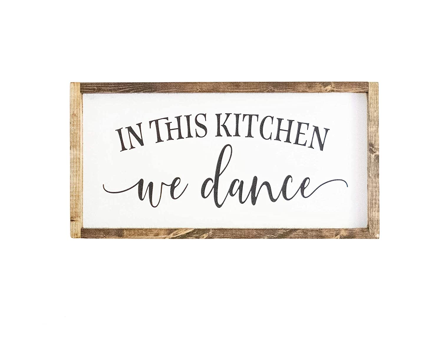 In This Kitchen We Dance Wood rustic farmh San Antonio Mall Sign Framed Large-scale sale Handmade