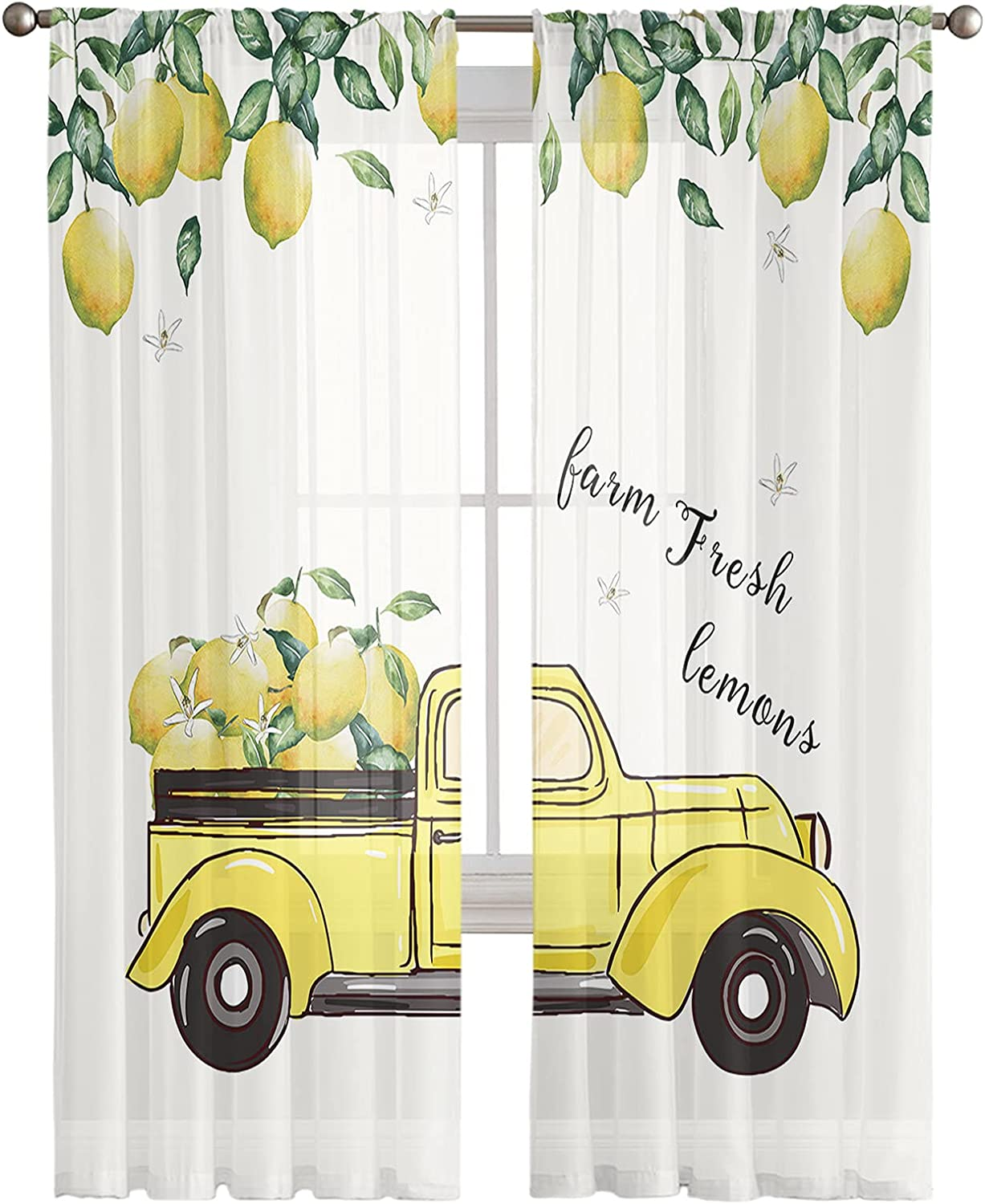 Sheer Window Free shipping anywhere Store in the nation Curtain Panels Summer Leaf Farm Lemon Yellow Green