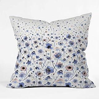 "Deny Designs Ninola Designs Ink Flowers Soft Blue Throw Pillow, 16"" x 16"""