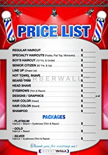 Barber Poster by Barberwall - (24 x 36) inches in Size, Barber Shop Poster. Our New Barber Shop Price List, Laminated for Durability and Fade Prevention. You Will Love IT