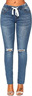 ACKKIA Women's Elastic Waist Skinny Stretch Ripped Distressed Denim Jeans Pants