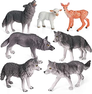 Wolf Toys Figures Animal Toys VOLNAU 7PCS Wolf Figurines Zoo Pack for Toddlers Kids Christmas Birthday Gift Preschool Educ...
