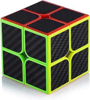 Cube de Vitesse Magique 2x2 2x2x2 Speed Cube Magic Cube Fibre de Carbone Autocollant Cadeau de Vacances pour Enfants Adult...