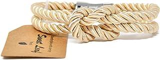 Bracelet Beige Naturel pour Homme - Fait Main - Coton de Qualité et Soie Véritable - Fermoir en Acier Inoxidable Poli Arge...