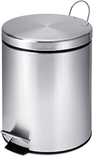 Honey-Can-Do TRS-01449 Round Stainless Steel Step-Lift Lid Garbage Can, Multi-Colour, 5 Litre