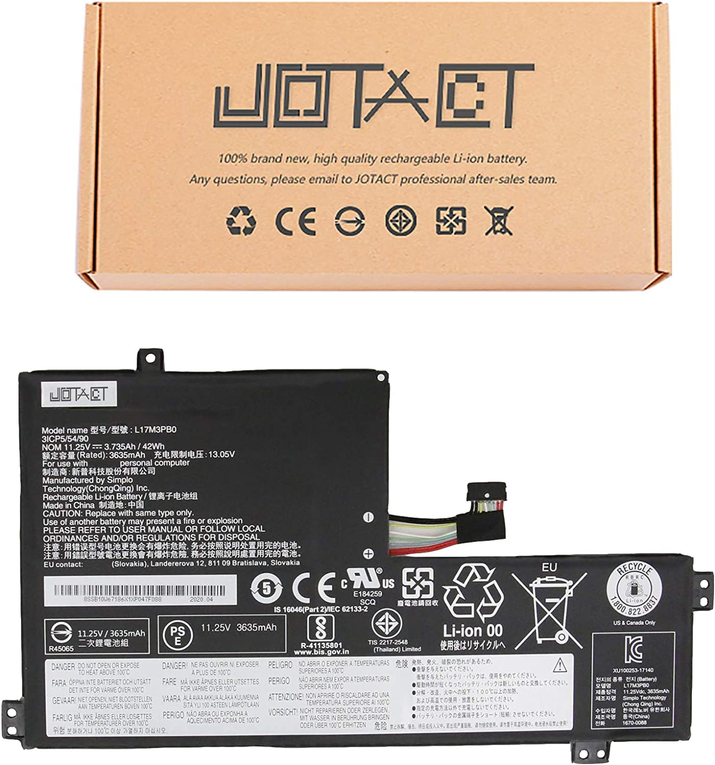 JOTACT L17M3PB0 Laptop Rare Battery with Chromebook Compatible Lenovo Free shipping on posting reviews