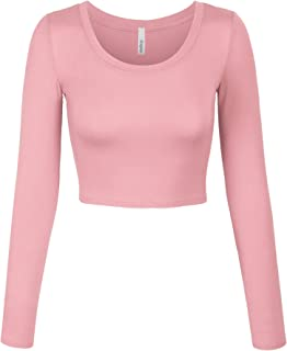 Womens Long Sleeve Basic Crop Top Round Neck with Stretch