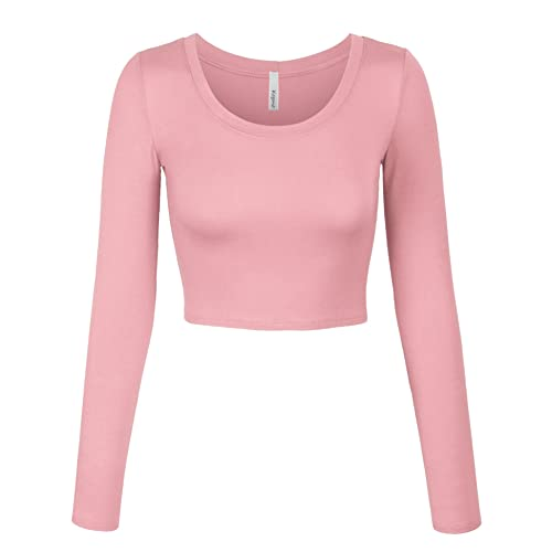 8150dc6100 KOGMO Womens Long Sleeve Basic Crop Top Round Neck with Stretch