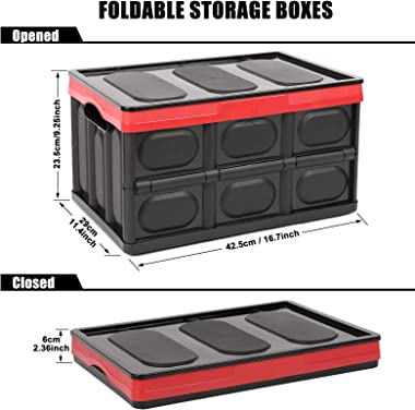Lidded Storage Bins 2 Pack 30L Collapsible Storage Box Crates Plastic Tote Storage Box Container Stackable Folding Utility Cr