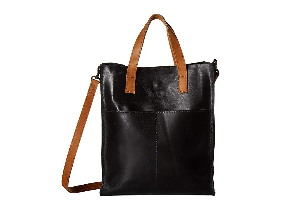 ABLE Elsabet Small Tote (Black/Cognac) Handbags