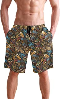 WIHVE Men's Beach Swim Trunks Tropical Swimsuit Underwear Board Shorts with Pocket and Mesh Lining