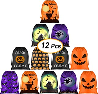KUUQA 12 Pack Halloween Candy Bags, Halloween Drawstring Goodie Bags, Halloween Treats Bags, Halloween Bags for Halloween Party Favor Supplies Halloween Party Bags