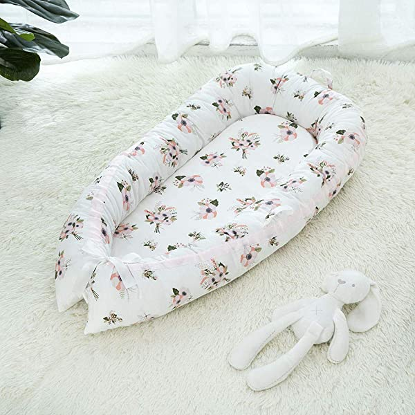 BATTILO HOME Baby Lounger Baby Nest For Bedroom Portable Infant Bassinet Nest For Co Sleep Removable Cover Baby Bionic Bed 100 Cotton