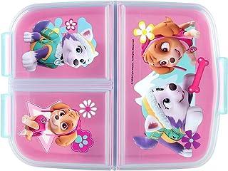 P:os 33429 - broodtrommel voor meisjes met Paw Patrol motief in roze en 3 vakken met clipsluiting, ca. 14 x 18,5 x 5,5 cm ...