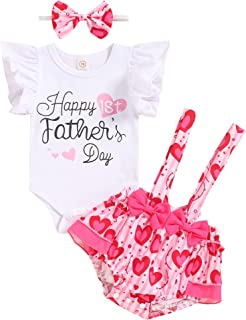 Happy Father's Day Outfit Clothes Newborn Baby Girls Happy First Fathers Day Outfits