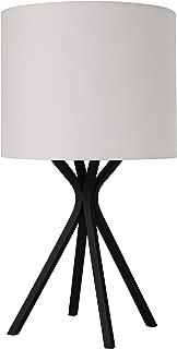 Rivet Matte Black Bedside Table Desk Lamp with Light Bulb - 18 Inches, Linen Shade