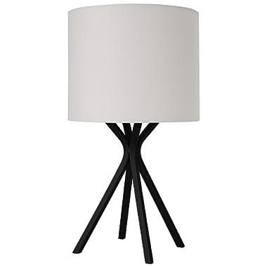Amazon Brand – Rivet Matte Black Bedside Table Desk Lamp with Light Bulb - 18 Inches, Linen Shade