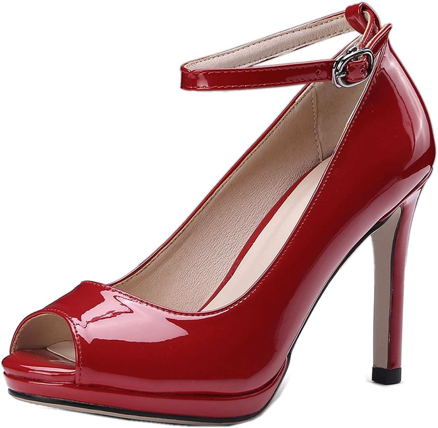 Rongzhi Womens Peep Toe Ankle Strap Stiletto High Heels Pumps Sexy Office Work Heeled Sandals