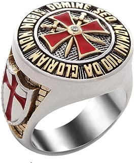 UNIQABLE Handmade Knight Templar Masonic Ring 18k Gold PLD Red Cross White Version 40 Gr BR-8
